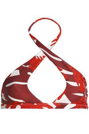 MIKOH Printed halterneck bikini top