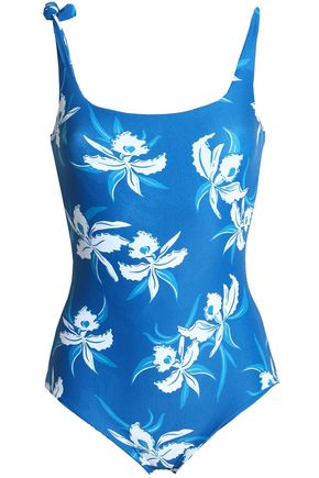 MIKOH Knotted floral-print swimsuit