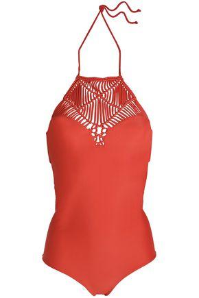 MIKOH Moorea macramé-paneled cutout halterneck swimsuit