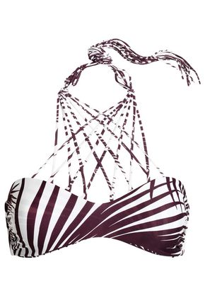 MIKOH Printed lace-up triangle bikini top