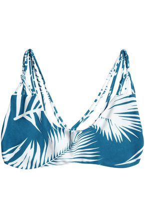 MIKOH Strap-detailed printed bikini top