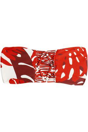 MIKOH Tonga macramé-paneled printed bandeau bikini top
