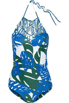 MIKOH Macramé-paneled printed swimsuit
