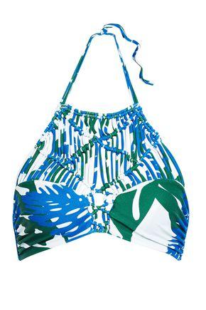 MIKOH Waimea macramé-paneled printed halterneck bikini top
