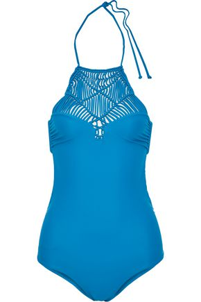 MIKOH Macramé-paneled swimsuit