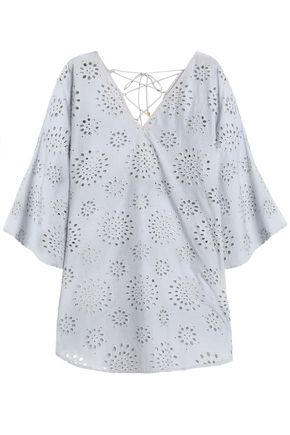 VIX PAULAHERMANNY Ice Kira lace-up broderie anglaise cotton coverup