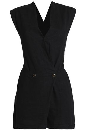 VIX PAULAHERMANNY Wrap-effect linen-blend playsuit