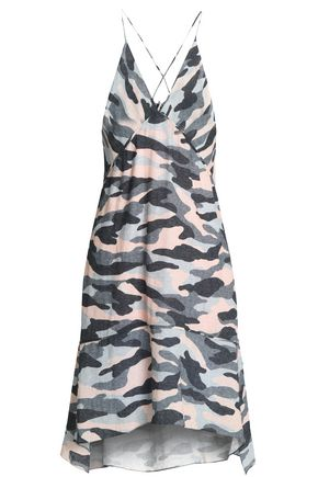 VIX PAULAHERMANNY Ida wrap-effect printed linen-blend coverup