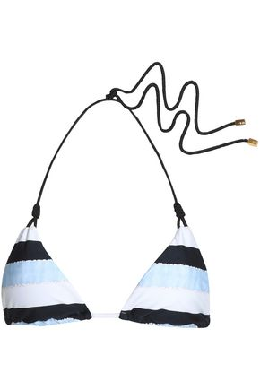 VIX PAULAHERMANNY Knotted striped triangle bikini top