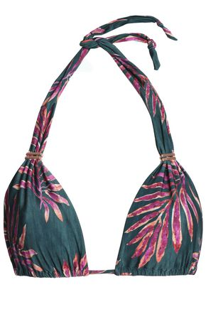 VIX PAULA HERMANNY Embellished printed triangle bikini top