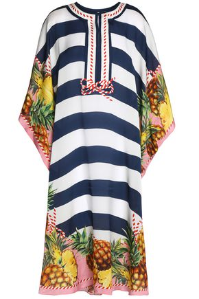 DOLCE & GABBANA Striped silk coverup