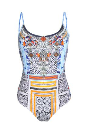 CAMILLA Crystal-trimmed printed swimsuit