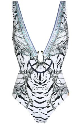 CAMILLA Embellished printed swimsuit