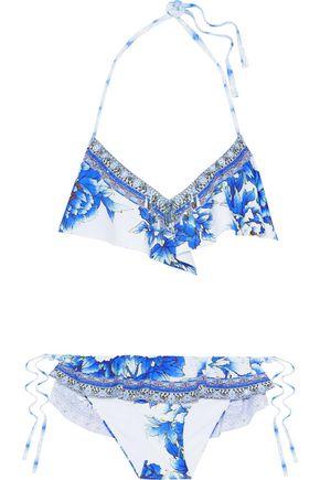 CAMILLA Ruffled printed triangle bikini set