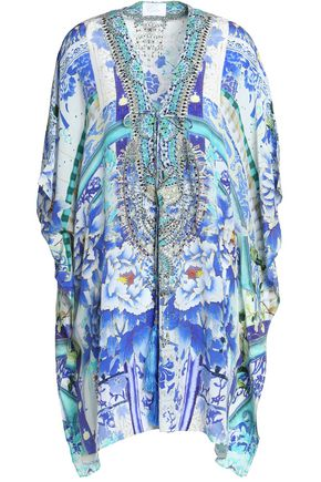 CAMILLA Lace-up crystal-embellished printed silk coverup