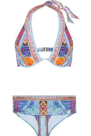 CAMILLA Crystal-embellished printed bikini