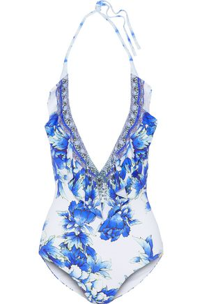 CAMILLA Ruffle-trimmed crystal-embellished printed halterneck swimsuit
