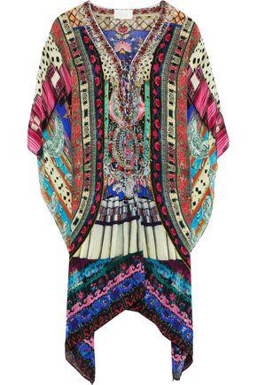 CAMILLA Lace-up crystal-embellished silk crepe de chine kaftan