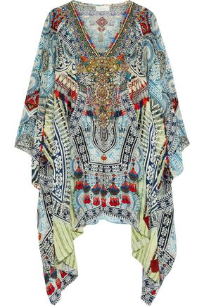 CAMILLA Cold-shoulder embellished printed silk crepe de chine kaftan