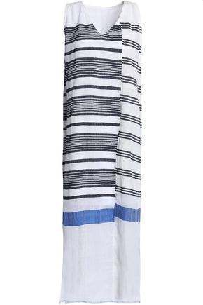 LEMLEM Striped cotton-blend gauze midi dress