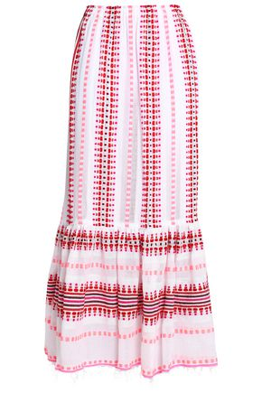 LEMLEM Fluted embroidered cotton-blend gauze maxi skirt