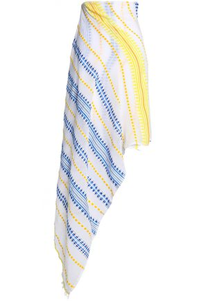 LEMLEM Embroidered striped cotton-blend gauze pareo