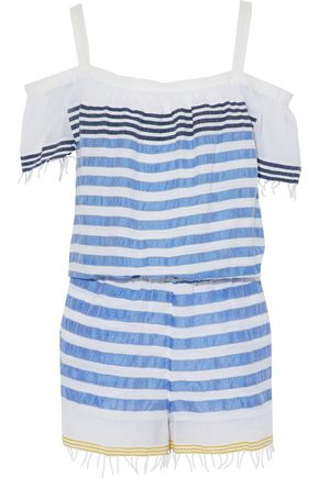 LEMLEM Cold-shoulder striped cotton-blend playsuit