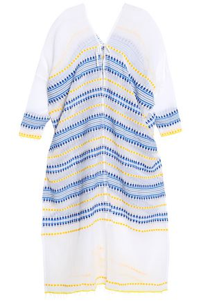 LEMLEM Embroidered striped cotton-blend gauze kaftan