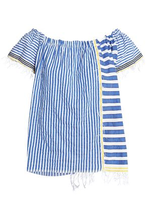 LEMLEM Fringe-trimmed striped cotton-blend gauze top