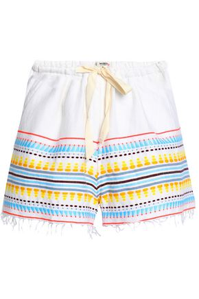 LEMLEM Embroidered cotton-blend shorts