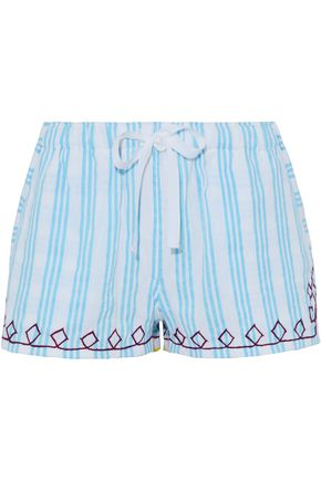 LEMLEM Embroidered striped cotton shorts