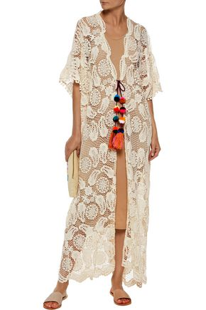 MIGUELINA Priscilla embellished crocheted cotton coverup