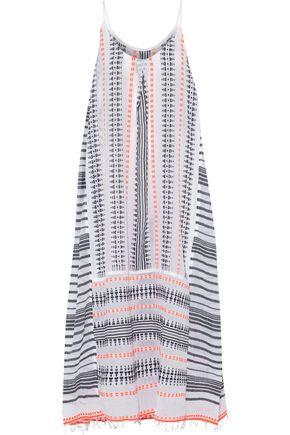 LEMLEM Embroidered striped cotton-blend gauze maxi dress