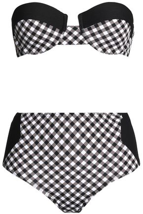 TART COLLECTIONS Paneled gingham high-rise bikini