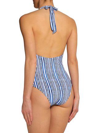 TART COLLECTIONS Alana cutout striped halterneck swimsuit