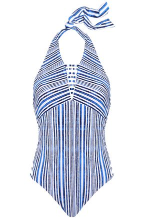 TART COLLECTIONS Alana cutout striped halterneck swimsuit