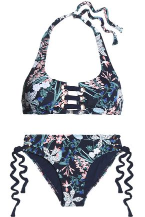 TART COLLECTIONS McKinley lace-up floral-print halterneck bikini