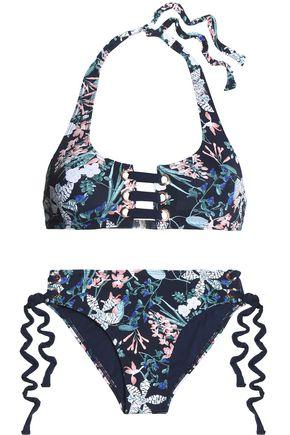 TART COLLECTIONS McKinley lace-up floral-print halterneck bikini