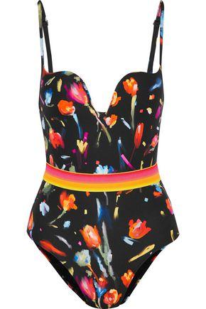LA PERLA Cutout floral-print swimsuit