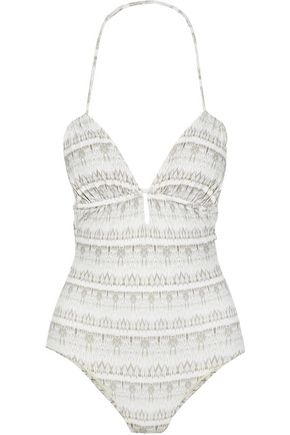 EBERJEY Ruched printed swimsuit