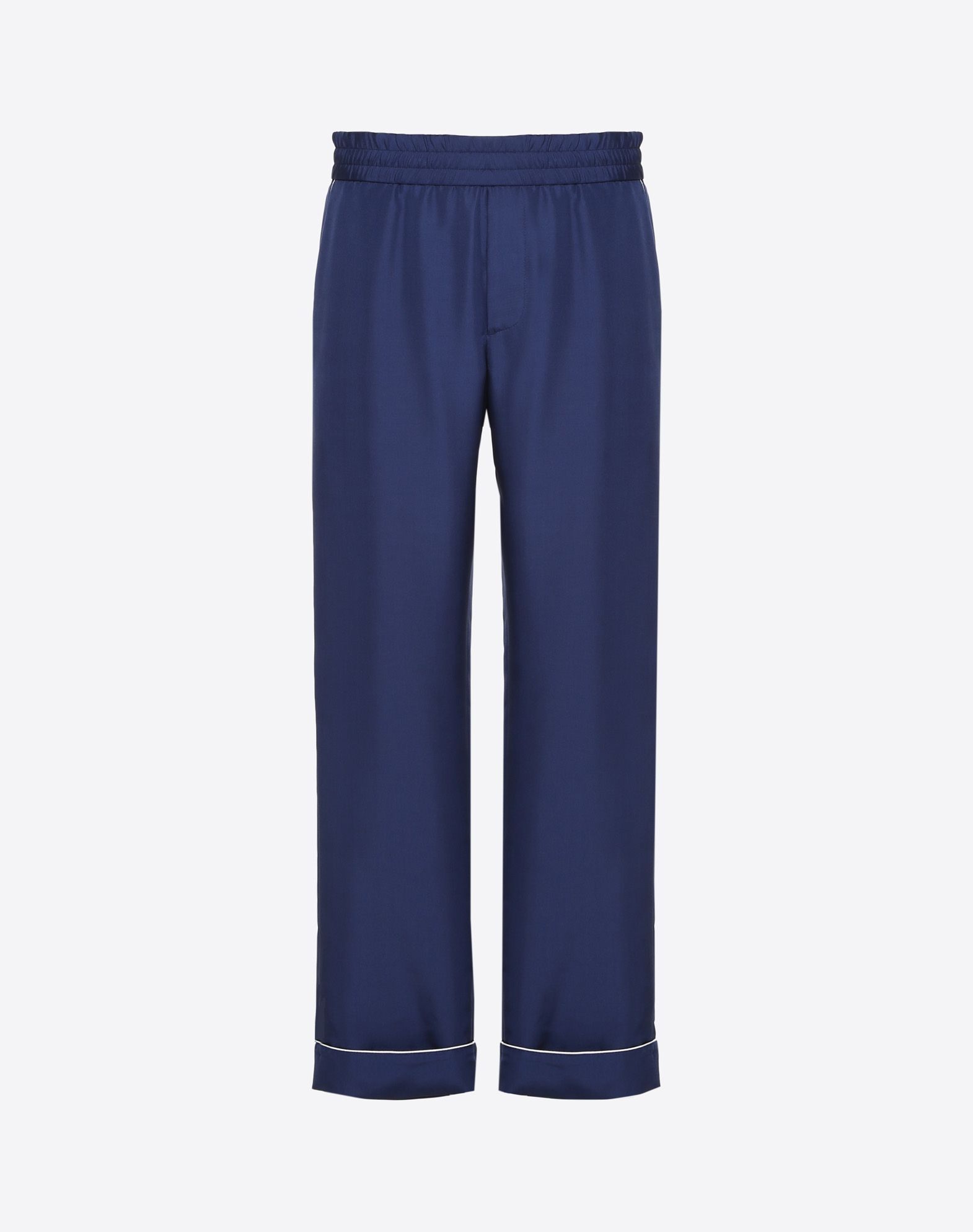 Silk pyjama trousers with piping detail
