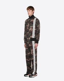 Camouflage trousers with contrast stripes
