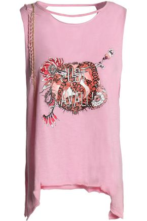 JUST CAVALLI BEACHWEAR Embellished cutout printed cotton-jersey tank