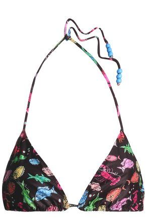 JUST CAVALLI BEACHWEAR Printed triangle bikini top