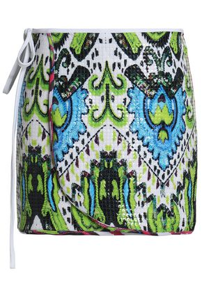 JUST CAVALLI BEACHWEAR Sequined printed stretch-jersey wrap skirt