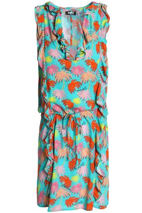 JUST CAVALLI BEACHWEAR Ruffle-trimmed printed jersey dress