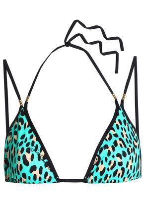 JUST CAVALLI BEACHWEAR Leopard-print triangle bikini top