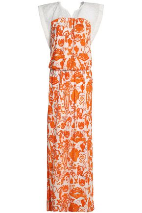 JUST CAVALLI BEACHWEAR Broderie anglaise-paneled printed jersey coverup