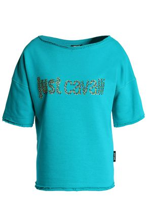 JUST CAVALLI BEACHWEAR Crystal-embellished French cotton-blend terry top