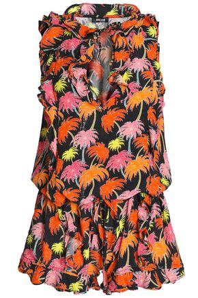 JUST CAVALLI BEACHWEAR Ruffle-trimmed printed crepe playsuit